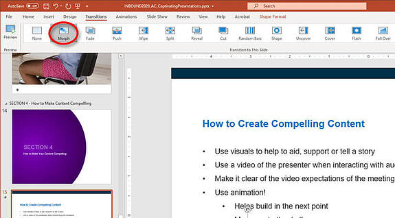 how to use the powerpoint morph tool
