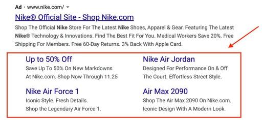 sitelink extension google