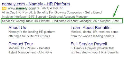 structured snippet google