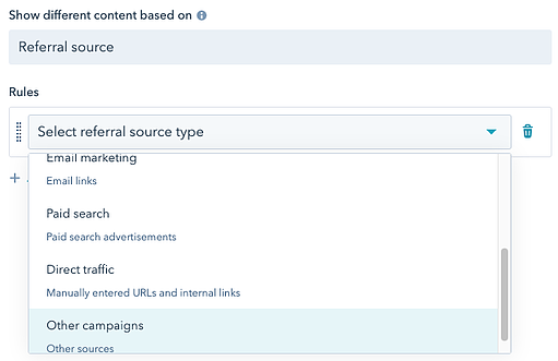 smart content based on referral source