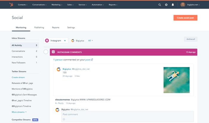 how to use hubspots social media monitoring tool