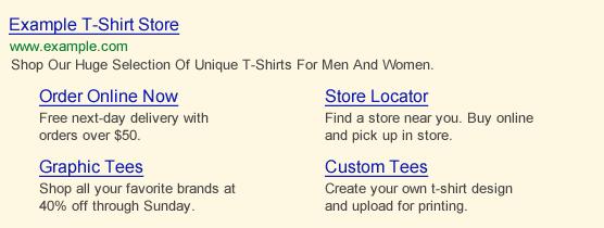 google sitelink extensions example