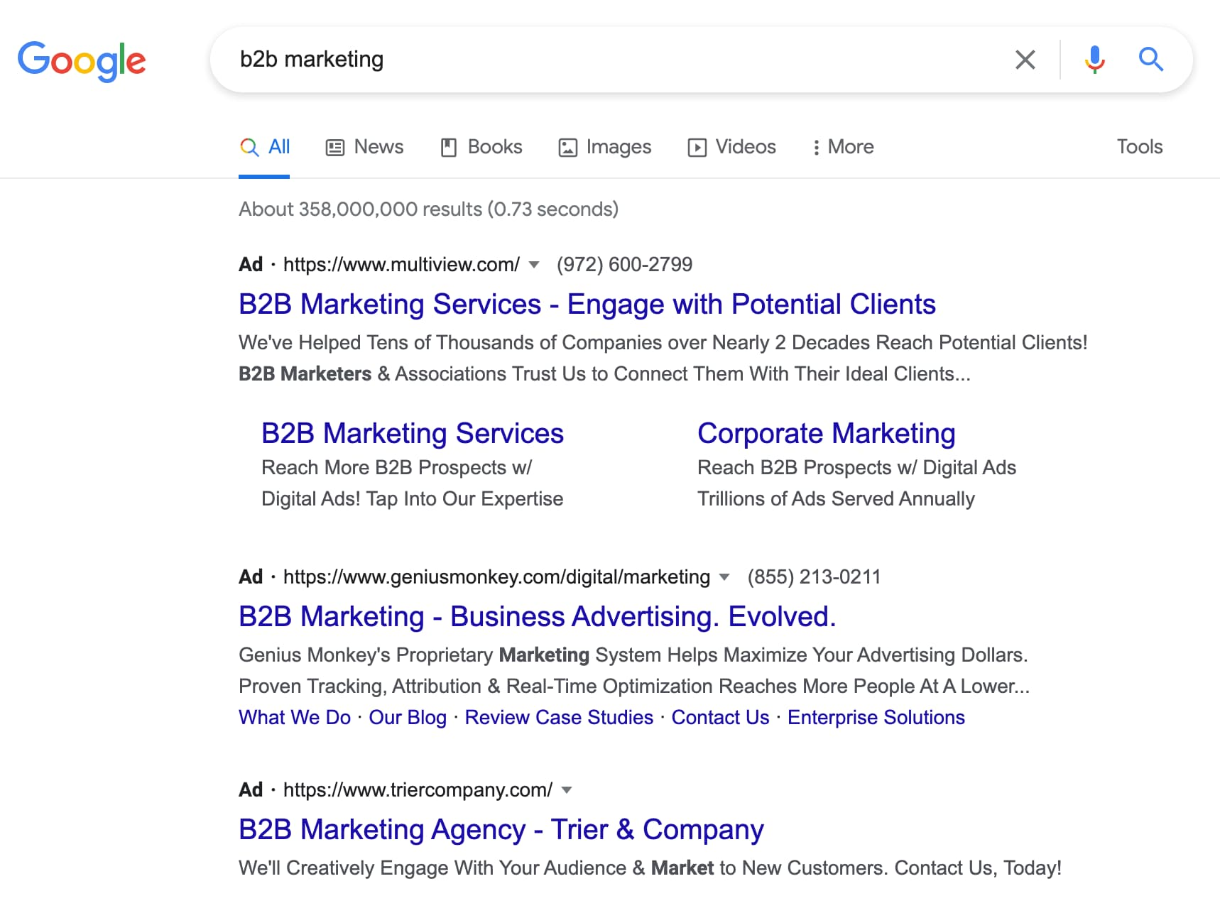 example of a b2b search campaign