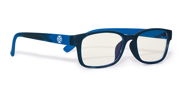 Trending trade show giveaway example: blue light blocking glasses with logo