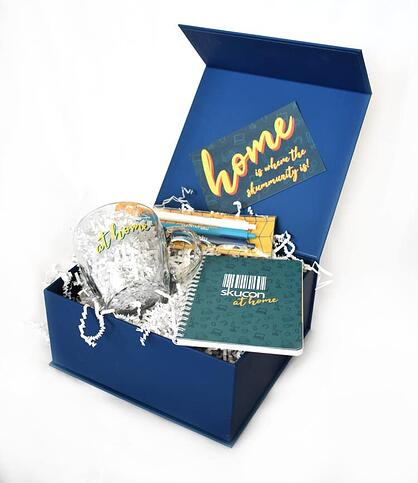 example of a custom swag box for virtual events