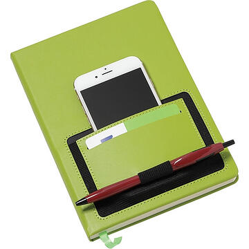 Green Moda Notebook with Phone Pocket