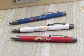 Bowie Softy Metal Pen with Rubberized Finish and logos