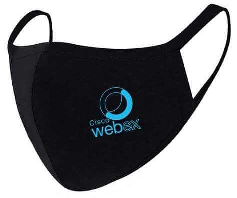 black cotton face mask with cisco webex logo