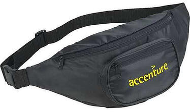 black hipster deluxe fanny pack with accenture logo