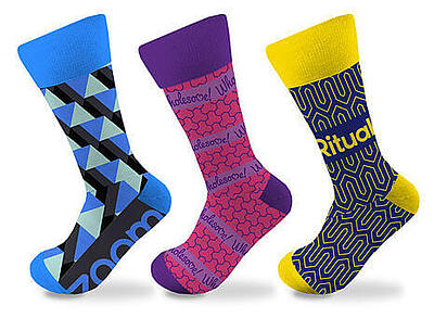 Three Custom Knitted Dress Socks Blue and Black, Purple and Magenta, and Yellow and Navy