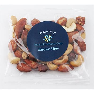 Clear bag with thank you sticker with mixed nuts inside