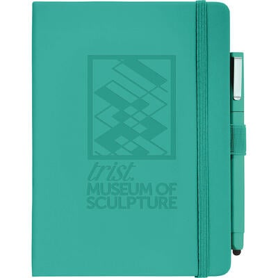 Turquoise front facing journal with matching stylus pen