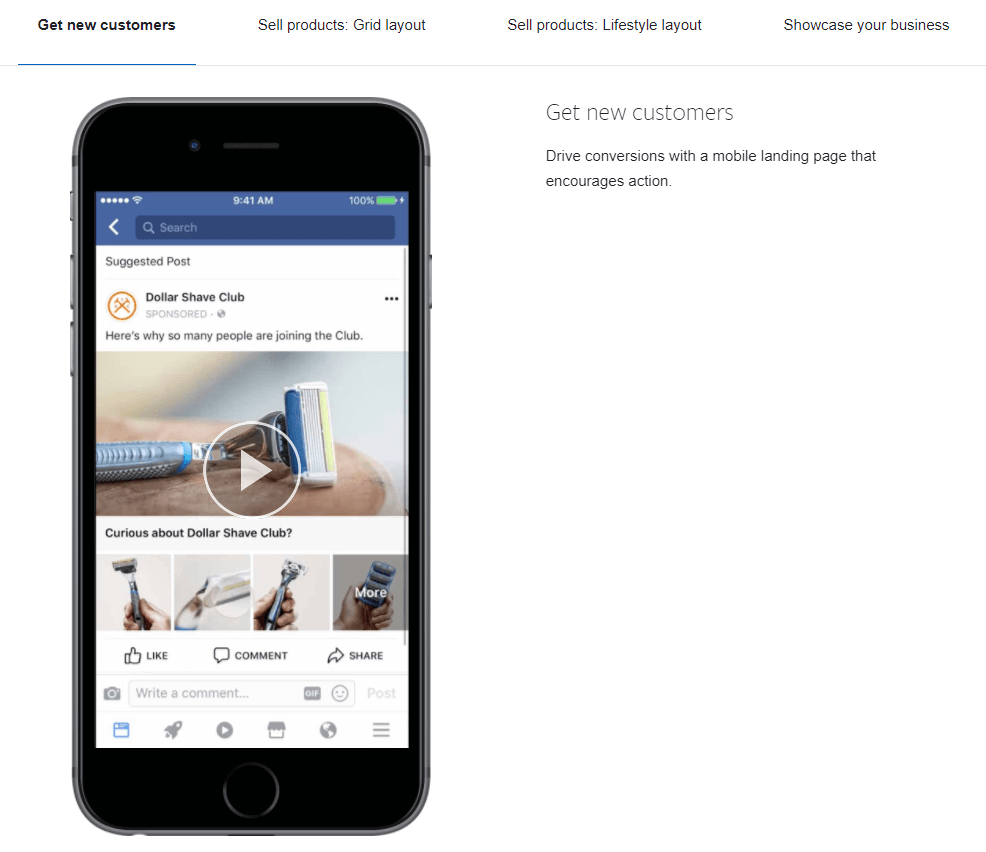 FB ad types ad sample canvas ad