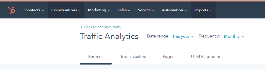 pull real data HubSpot sample traffic view