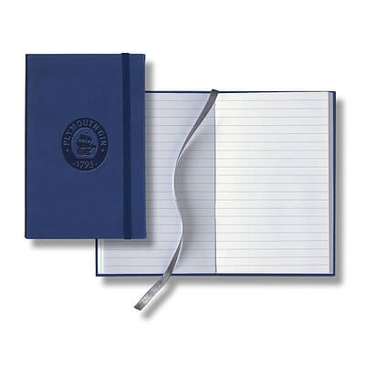 Blue Pocket Journal with logo on cover near open journal with marker ribbon