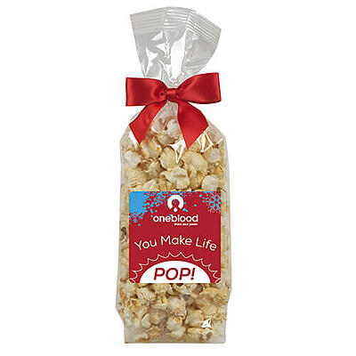 Kettle Corn Gift Bag with red bow on top