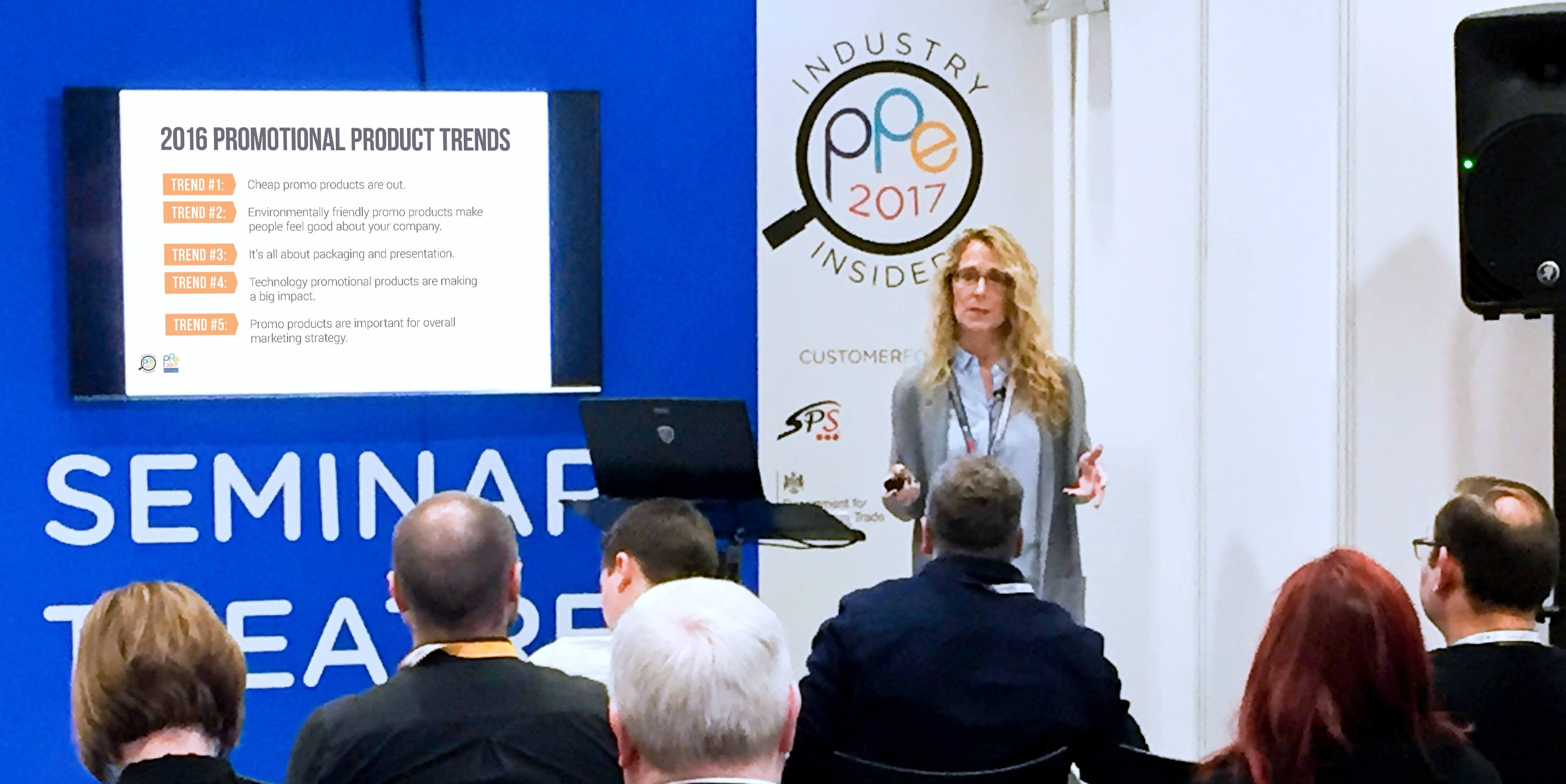 Cathy Houston speaking about promotional product trends as an Industry Insider