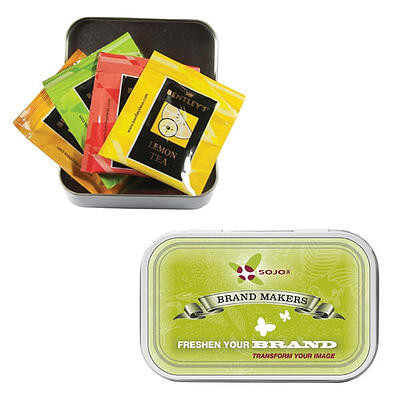 Open Compact Tea Tin with four tea packets and closed lid with brand logo