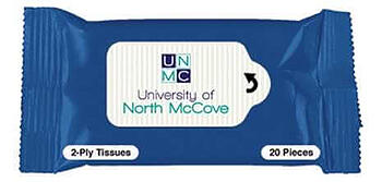 blue Tissue Pack with university of north mccove logo