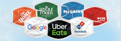 7 cloth face masks with google, uber eats, dominos, cvs pharmacy, petsmart, whole foods, the hope depot logos