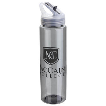 Gray Flip-Up Lid Water Bottle with McCain College logo