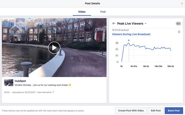 facebook live metrics screenshot from HubSpot with peak viewers chart