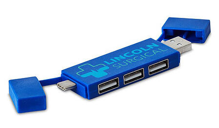 Blue 3-Port USB Hub with Lincoln Surgical logo