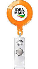 orange retractable badge holder with Idea Mart logo