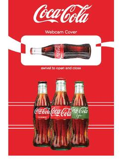webcam cover in shape of coca cola bottle with coca cola custom card