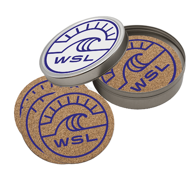 cork coaster set in tin with WSL logo
