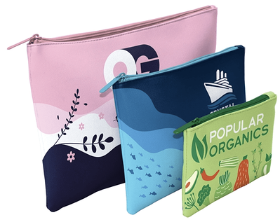 3 Vegan leather pouches with colorful designs