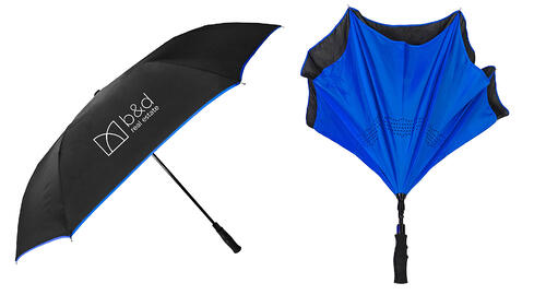 blue and black inversa in verted umbrella with b&d logo