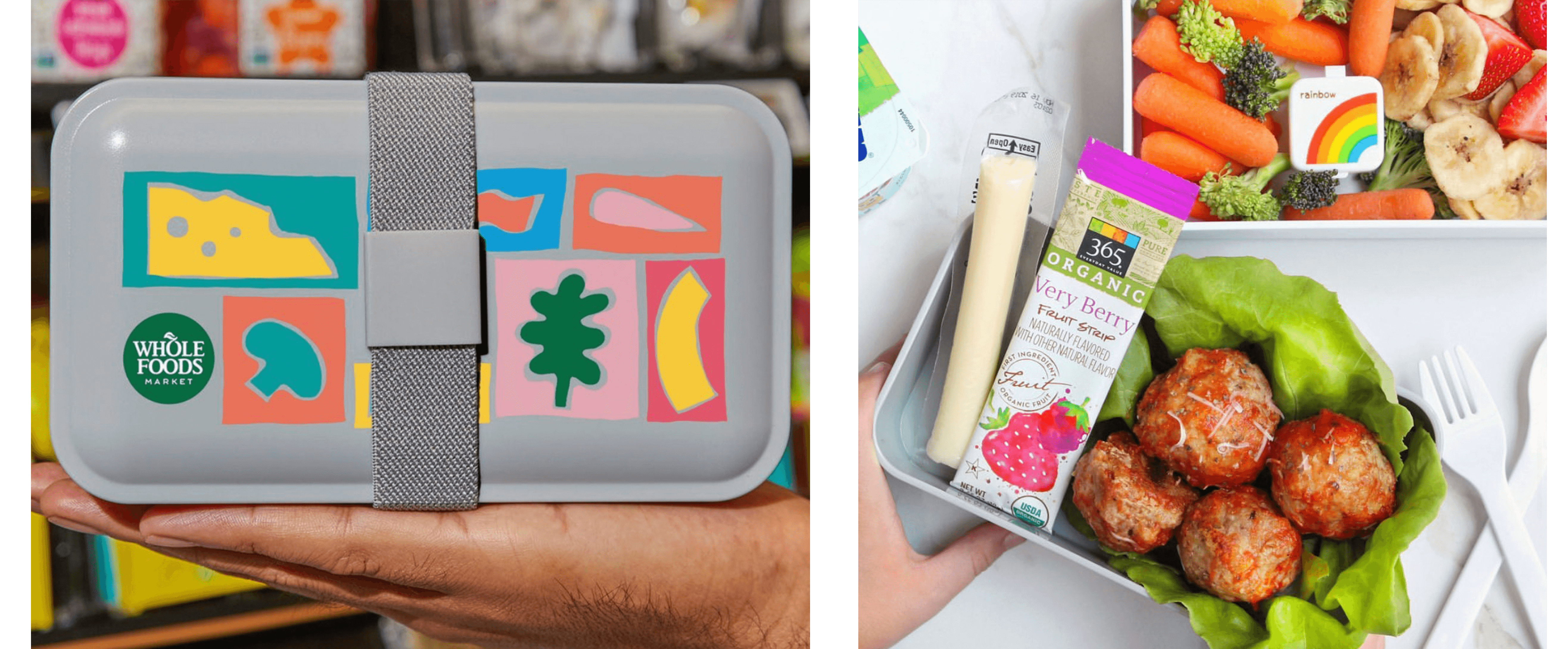 Bento Lunch Box with food graphics on top and cheese, fruit snack, and falafel inside