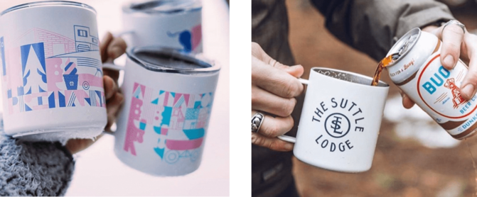 3 MiiR Camp Mugs with pink and blue drawing of person with icecream and drink being poured into mug with the suit lodge logo