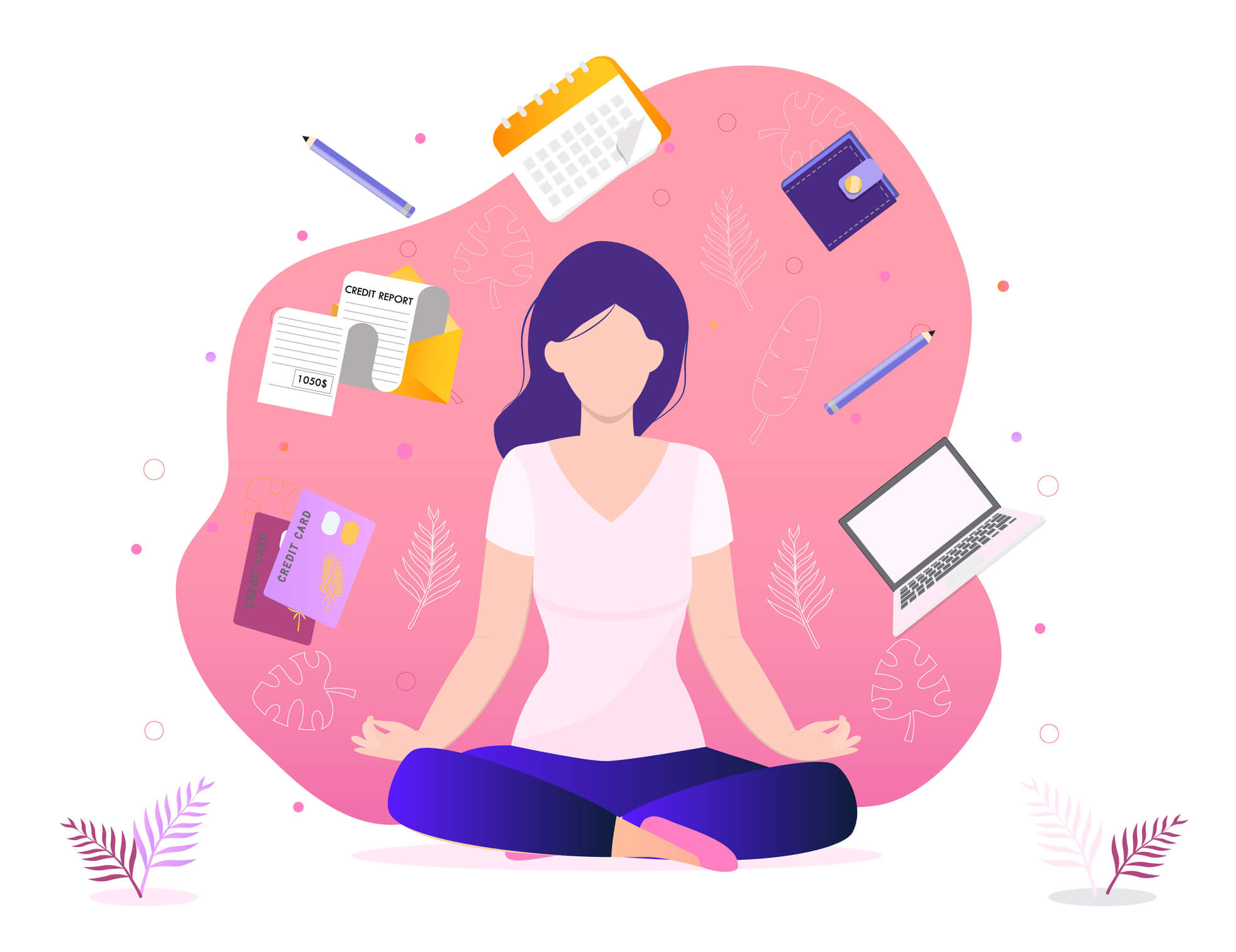 6 Ways to Practice Digital Wellness for Businesses cartoon drawing of a woman meditating with computer, calendar, pen, and checklist surrounding her